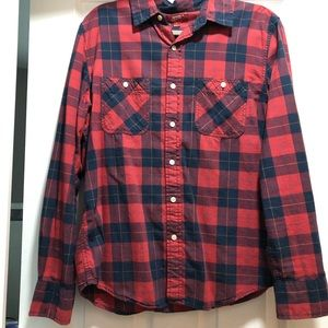 Size M Men's Navy and Red Plaid Button Up Shirt